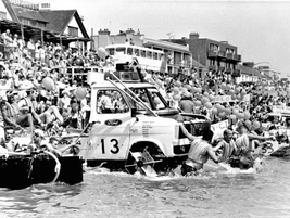 Enter a boat race. Ford engineers once built a floating Transit to take part in the Maldon raft...
