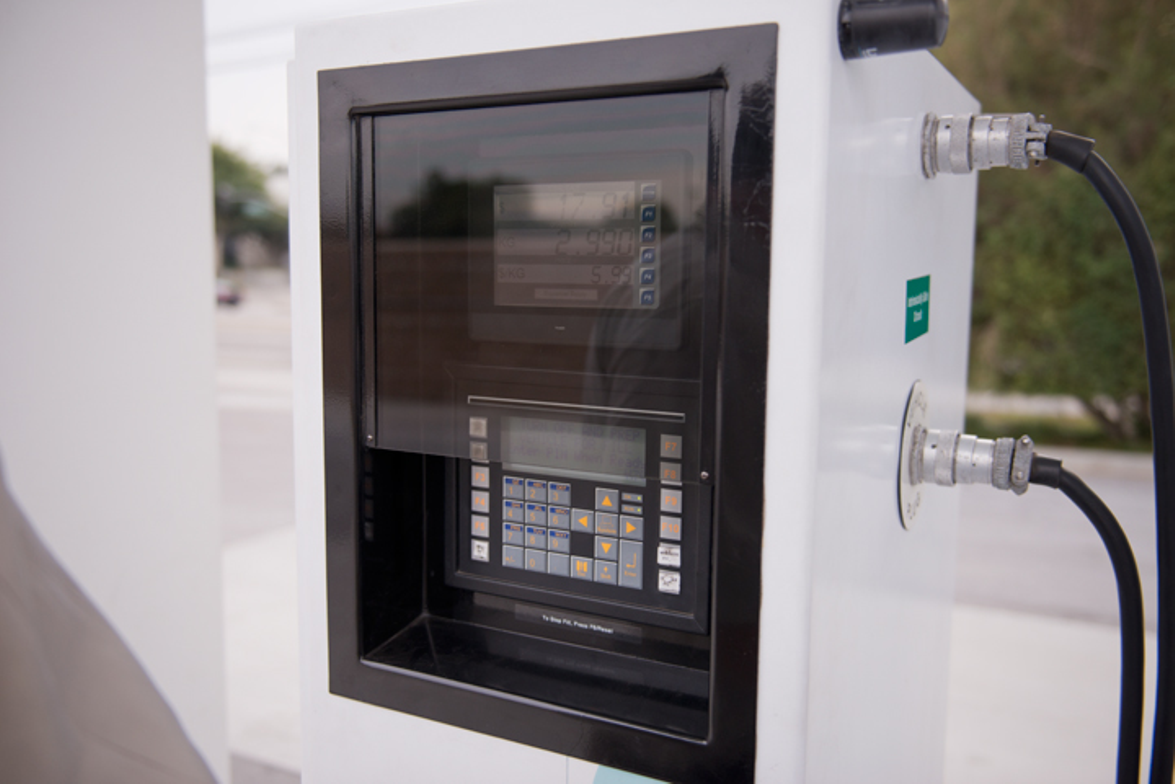 The hydrogen fuel pump we used could only fuel one vehicle at a time. The pump cues users for...