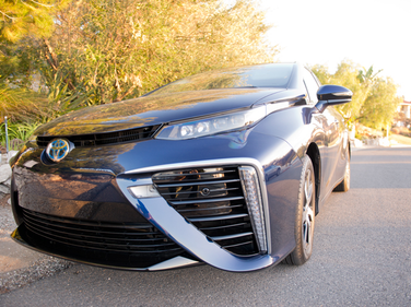 The 2016 Mirai uses larger air intakes to complement the H2-oxygen mix.
