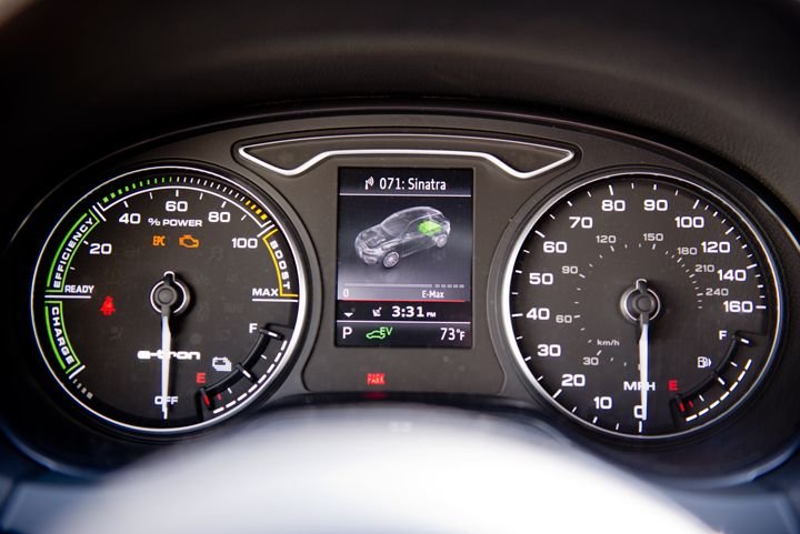 The instrument cluster includes a graphic showing power use by the gasoline engine or electric...