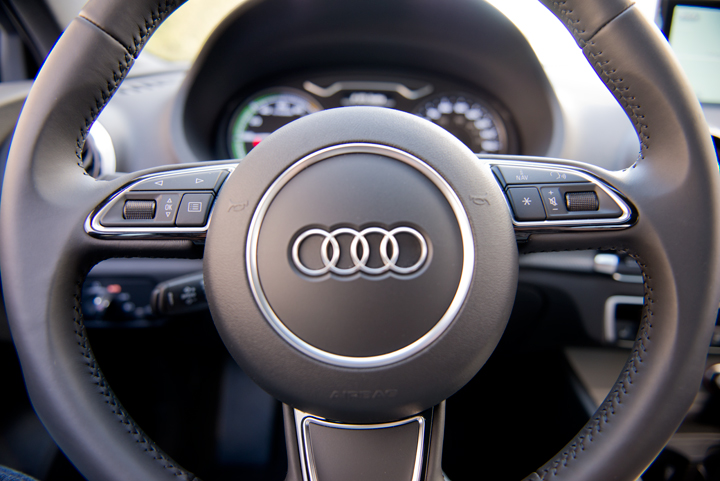 Steering wheel controls help drivers access information display menus, audio volume, and voice...