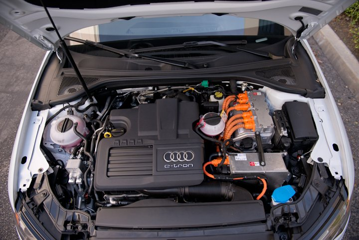 The A3 e-tron is powered by a 1.4L 150-hp gasoline engine paired with a 102-hp electric motor...