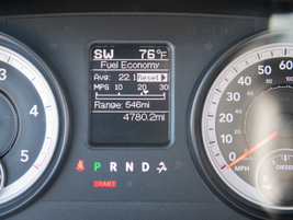 A fuel-economy readout on the instrument panel shows off the truck's impressive MPG numbers.