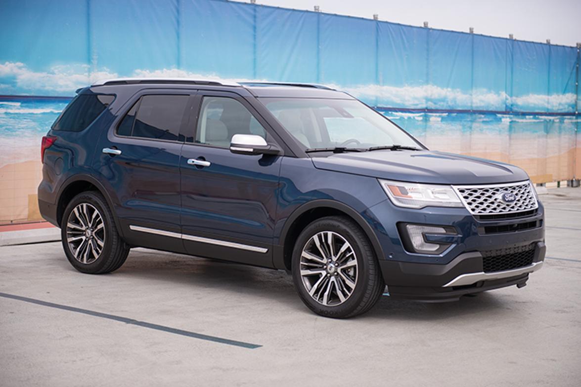 Ford offers five Explorer models, including base, XLT, Limited, Sport, and Platinum (shown).