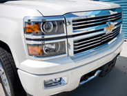 The Silverado redesign included updates to the front grill and more circular headlights.