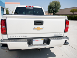 The truck includes corner bumper steps to help when stepping into the bed.