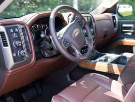 The Silverado offers seat heating and cooling with 12-way power adjustments.