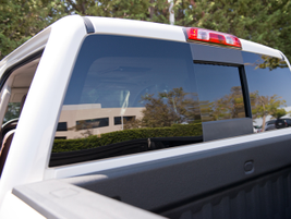 The pickup includes LED lighting under the bed rails and a high-mounted cargo light for evening...