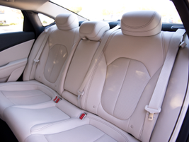A rear leather-trimmed bench seats three.