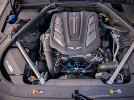 This G90 is powered by a 3.3-liter twin turbo V-6 engine that makes 365 hp.