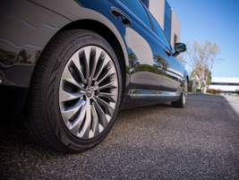 The rear-wheel-drive vehicle includes 19-inch alloy wheels