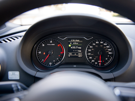 The instrument panel's driver information system displays fuel economy, trip data, and safety...