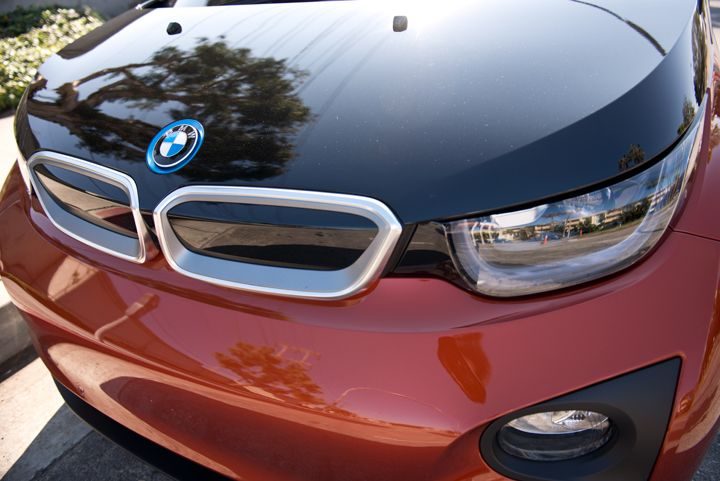 "The i3 gets BMW's trandmark ""kidney grille"" design without air intake vents."