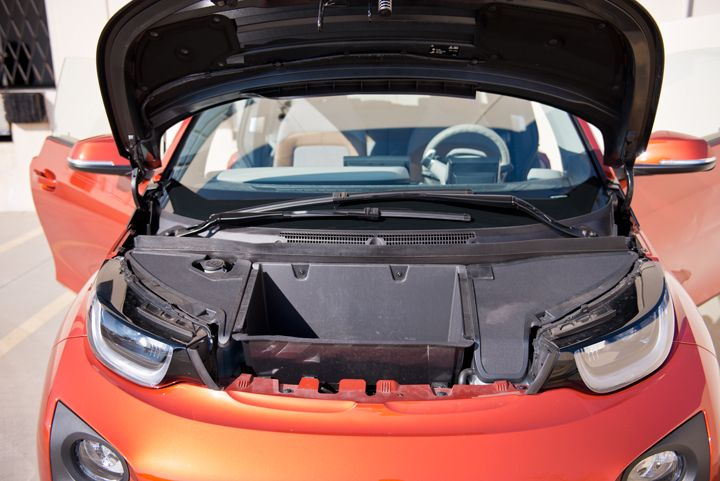A front compartment allows the driver stow the charging cable while operating the vehicle.