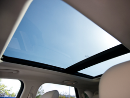 A panoramic sunroof allows drivers to allow partial or full sunlight into the cabin.