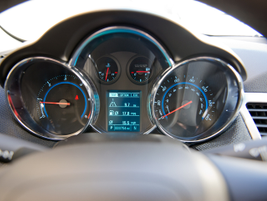 An in-dash display provides a variety of operating data including fuel efficiency.