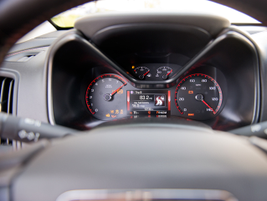 A multi-color display gives the driver information about trips, fuel economy, and navigational cues.