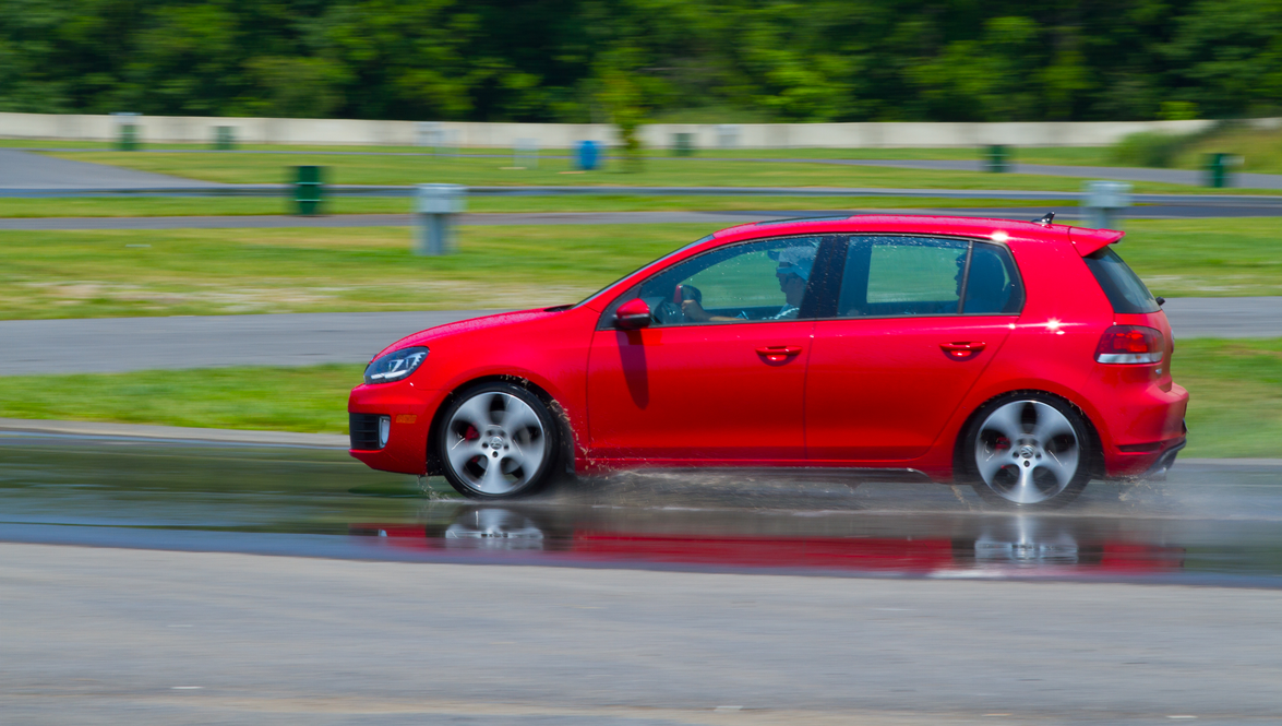 "Attendees got first-hand tests of VW's traction control system, ESP, during the ""skid pad..."