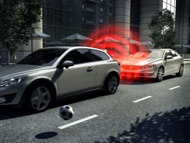 The City Safety System, part of Volvo's IntelliSafe suite of safety technologies, automatically...