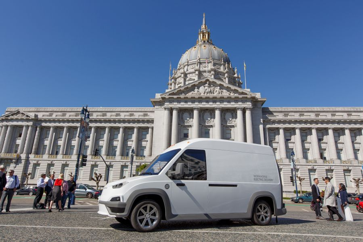 Workhorse unveiled the new N-GEN electric van at San Francisco City Hall on March 28.