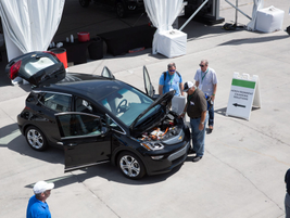 An aerial view of the Chevrolet Bolt EV at the Las Vegas Motor Speedway.