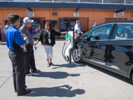 A GM Fleet representative discusses the Chevrolet Bolt EV and its charging capabilities with...