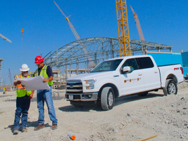 A 2015 Ford F-150 truck at the construction site of the Dallas Cowboys' new headquarters in...