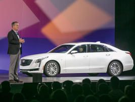 Dan Creed, vice president, sales operations, Cadillac, speaks during a presentation regarding...