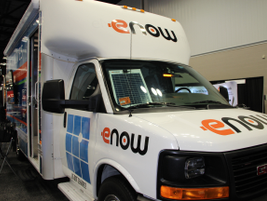 eNow displayed its solar-powered solution for powering auxiliary devices, such as HVAC,...