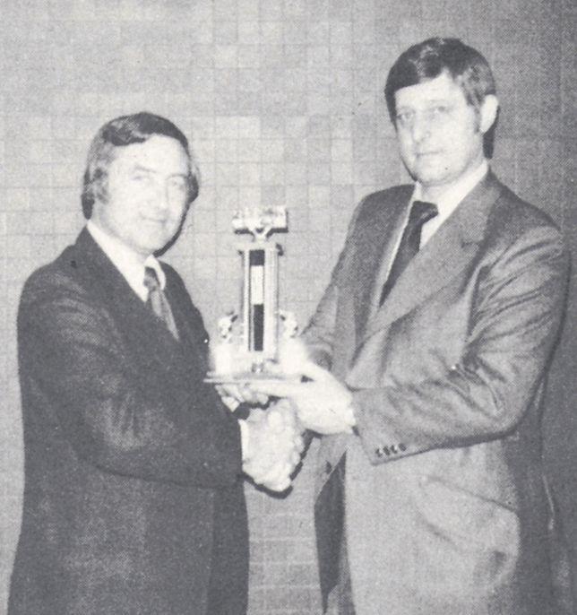 [1974] Ed Bobit presents the Annual Bobit Award to Heydon Hubler of Hubler Rentals for...