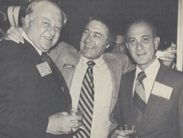 At a 1977 AALA convention, Ed (center) embraces Chevrolet's Chuck McCrary (left) and AFLA...