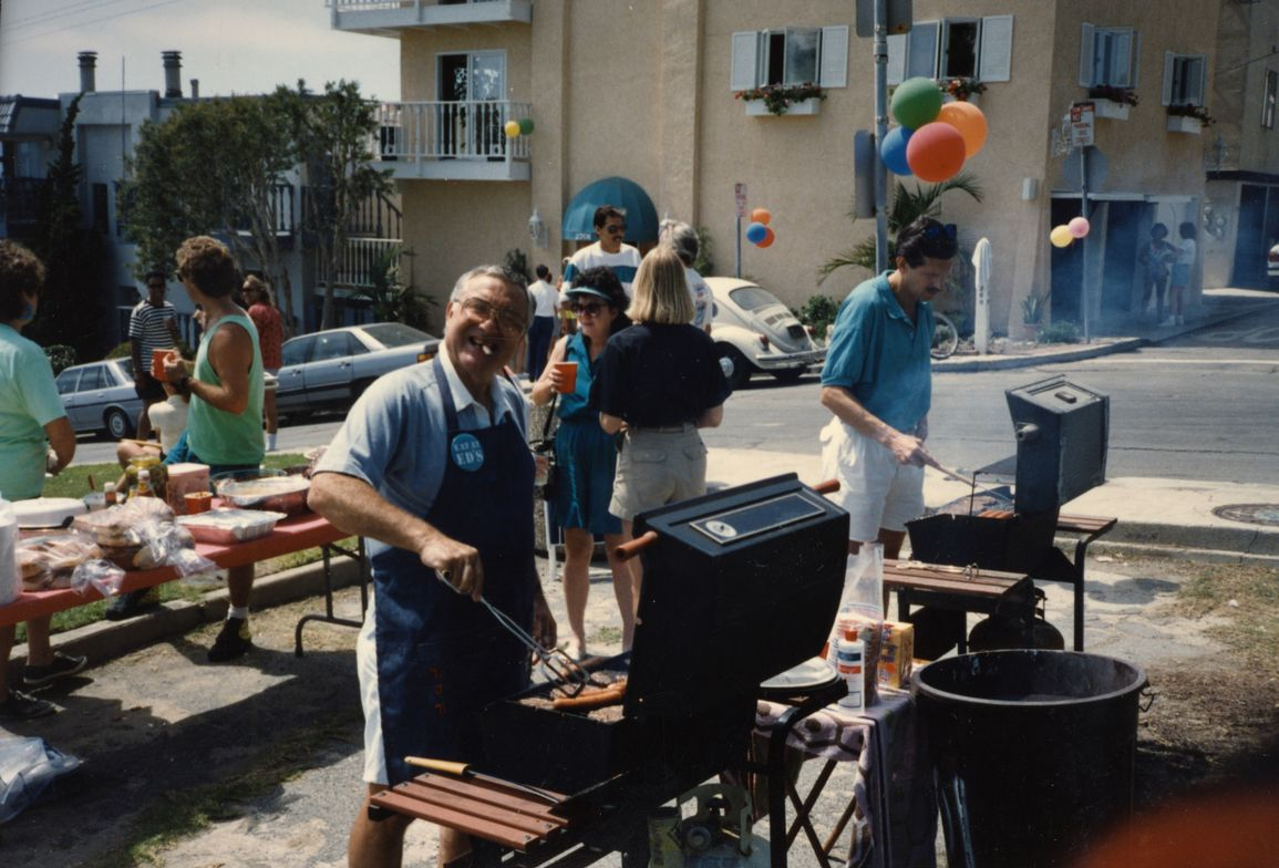 Ed working the grill at the famous Bobit Beer Bust company party in Manhattan Beach.
