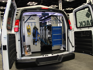 Masterack's display maximizes space inside the vehicle, with shelving, drawers, hooks, and even...