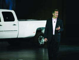 John Schwegman, U.S. VP of marketing for GMC, reviewed product strategy with fleet manager...