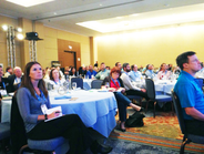 Conference attendees listened to Watson's keynote.