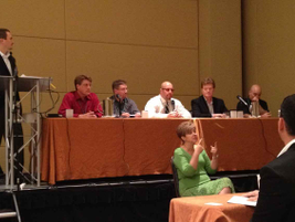 Government Fleet's Publisher Eric Bearly moderates a panel on fleet safety technologies....