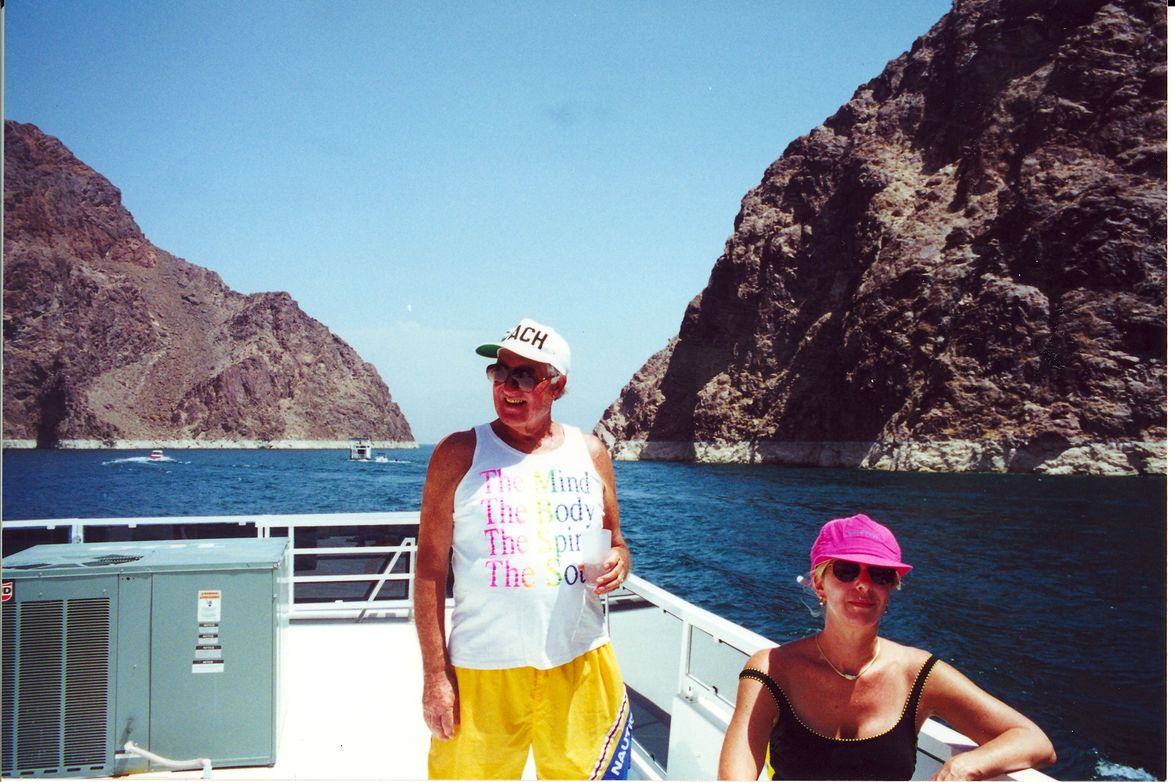 On a house boat at Lake Meade in the 1990s for a family reunion with his daughter Barbara.