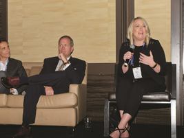 A forum on the future of vehicle safety featured (R-L) Jennifer Morrison of the National...