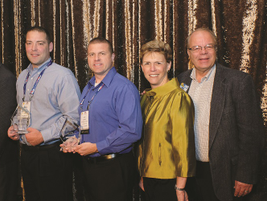 The  winner of 2018 HDT Safety & Compliance Award  sponsored by Omnitracs was (2nd from left)...