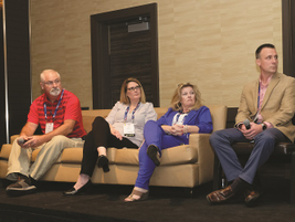 Discussing telematics as a safety tool were four fleet managers (L-R): Dave Rush of RAI Trade...