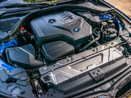 The 330i is powered by a 2.0L turbo four-cylinder engine.