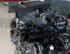 A cutaway of the new 3.0L Duramax diesel engine. At the first-drive event, Automotive Fleet...