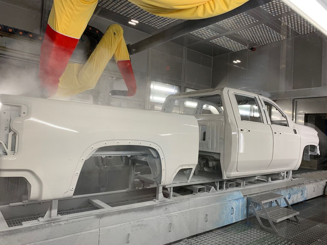 A 2020 Silverado 2500HD being painted. Fullproduction of MY-2020 Silverado HD truckshas not...