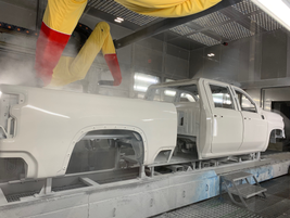 A 2020 Silverado 2500HD being painted. Full production of MY-2020 Silverado HD trucks has not...
