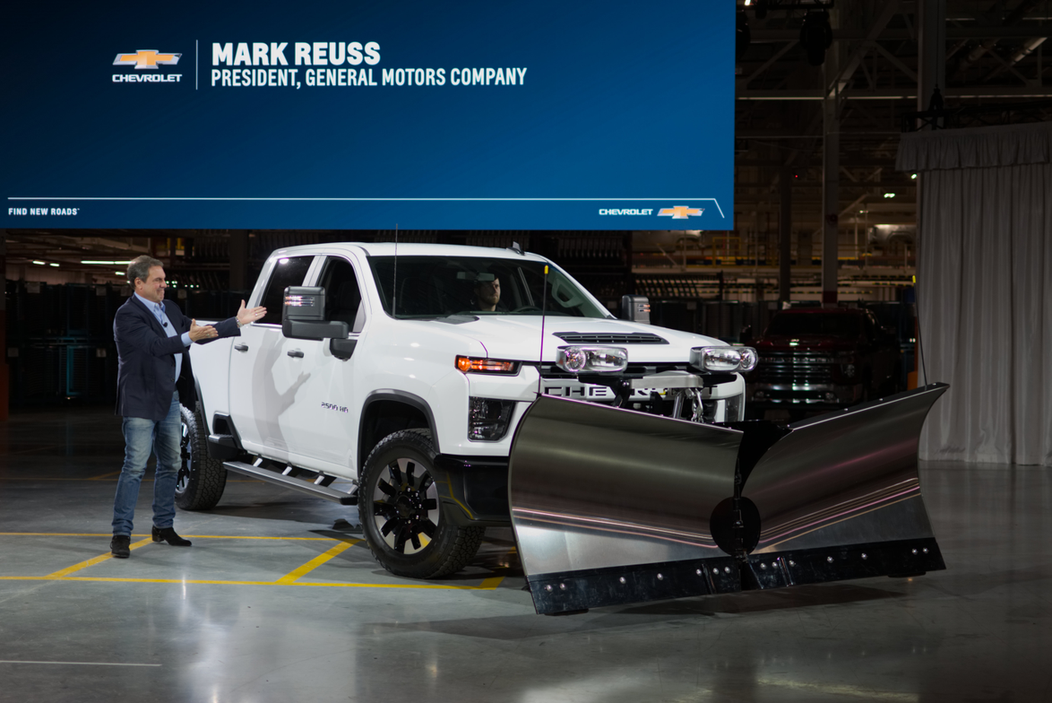 President of General Motors Co. Mark Reuss unveiled the 2020 Silverado HD at the GM Flint...