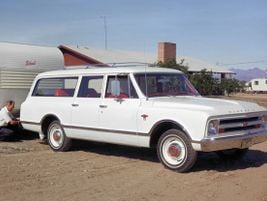 The sixth generation 1967 Suburban became popular with ambulance companies for its three-door...