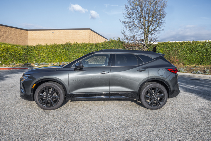 The Blazer's side profile shows a sleek, longer two-row SUV that seemingly could be offered in a...