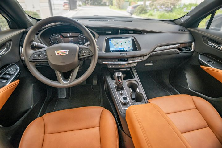 The interior includes a bright,8-inch touchscreen that displays Cadillac's CUE software.  - Photo by Kelly Bracken.