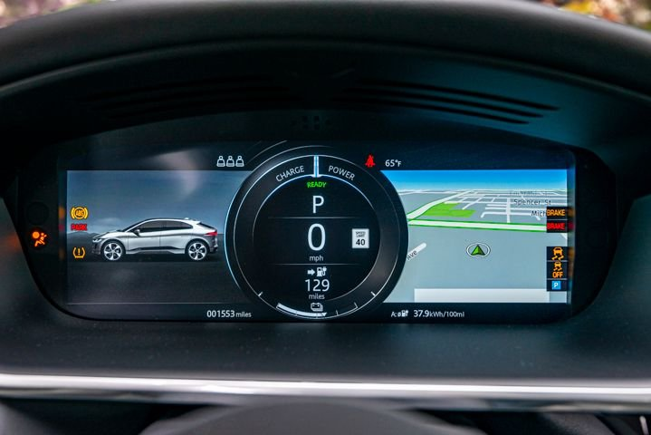 The I-Pace's guage cluster can be customized to show information most relevant to the driver.