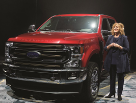 Michele Bartlett, general manager, commercial vehicle marketing, showcased the 2020-MY F-250...